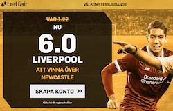 forhojt odds på Liverpool